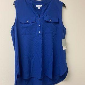 Charter Club Petite XL Blue Sleeveless Top Blouse